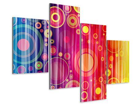 Aluminiumbild 4-teilig modern Grunge-Retrokreise