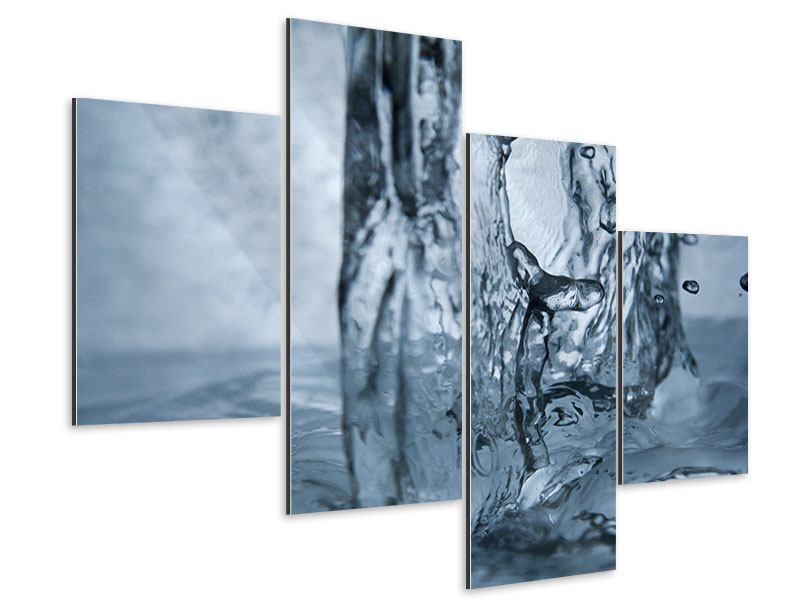 Aluminiumbild 4-teilig modern Wasserdynamik