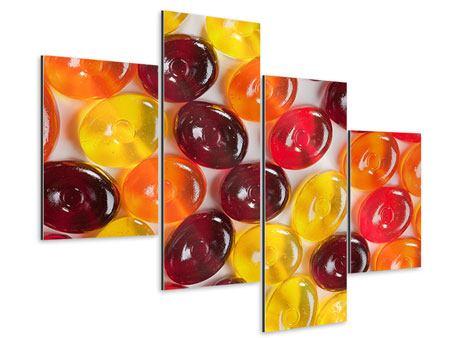 Aluminiumbild 4-teilig modern Bonbons