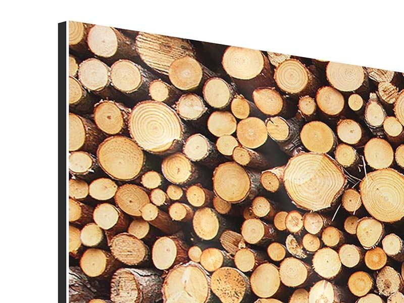 Aluminiumbild 4-teilig modern Holzstämme