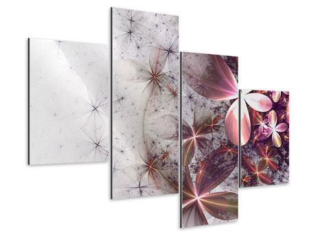 Aluminiumbild 4-teilig modern Abstrakte Blumen