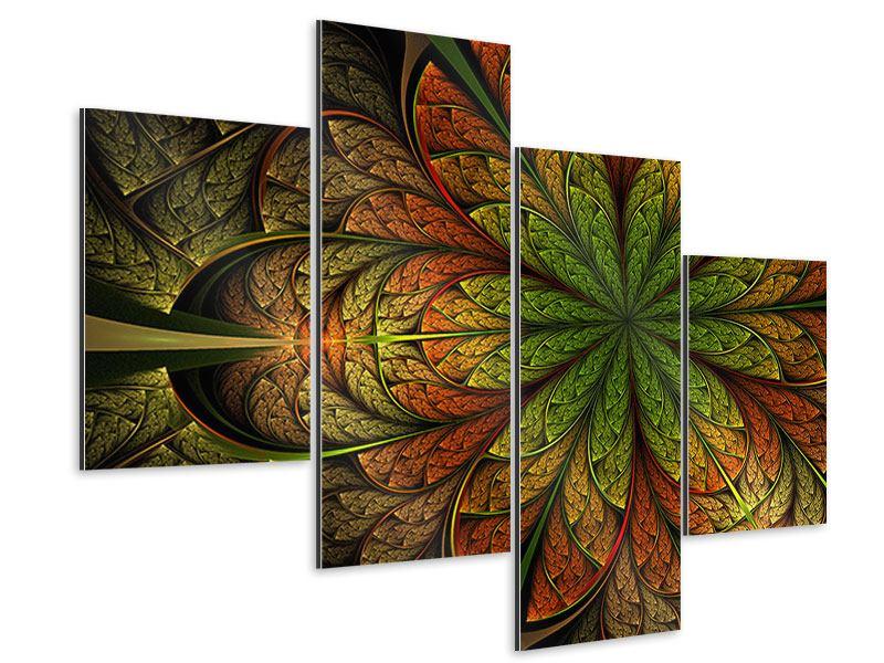 Aluminiumbild 4-teilig modern Abstraktes Blumenmuster