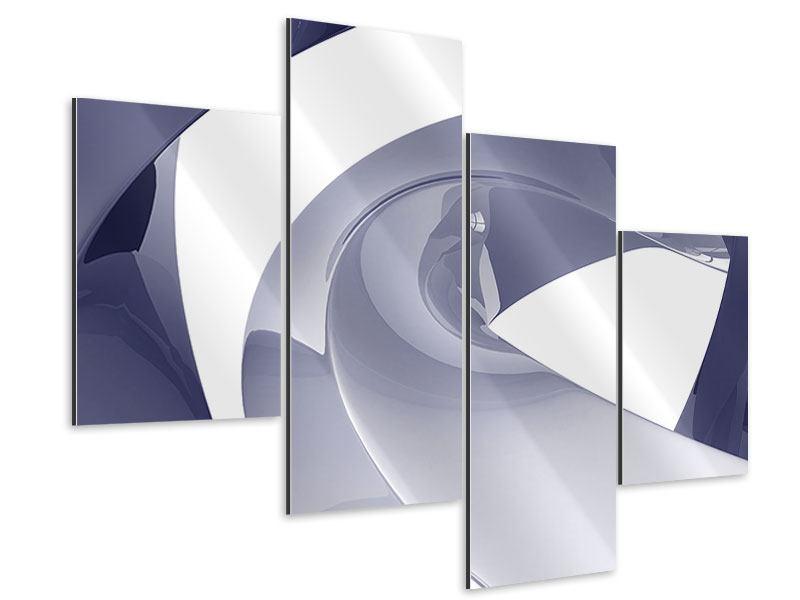 Aluminiumbild 4-teilig modern Abstrakte Schwingungen