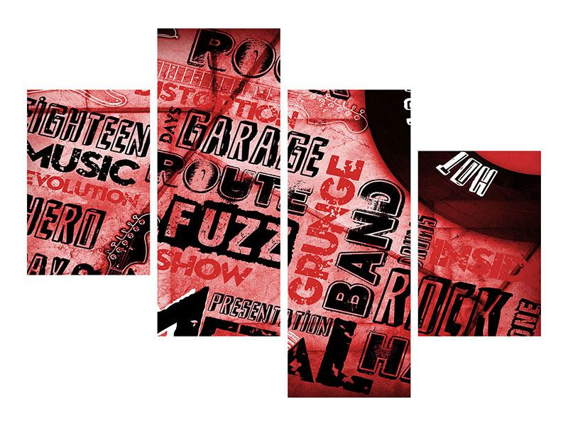 Aluminiumbild 4-teilig modern Writings Music Grunge