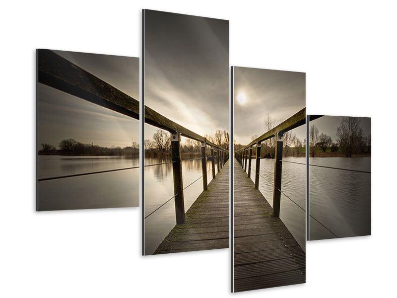 Aluminiumbild 4-teilig modern Die Holzbrücke