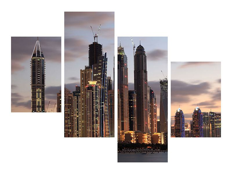 Aluminiumbild 4-teilig modern Skyline Dubai bei Sonnenuntergang