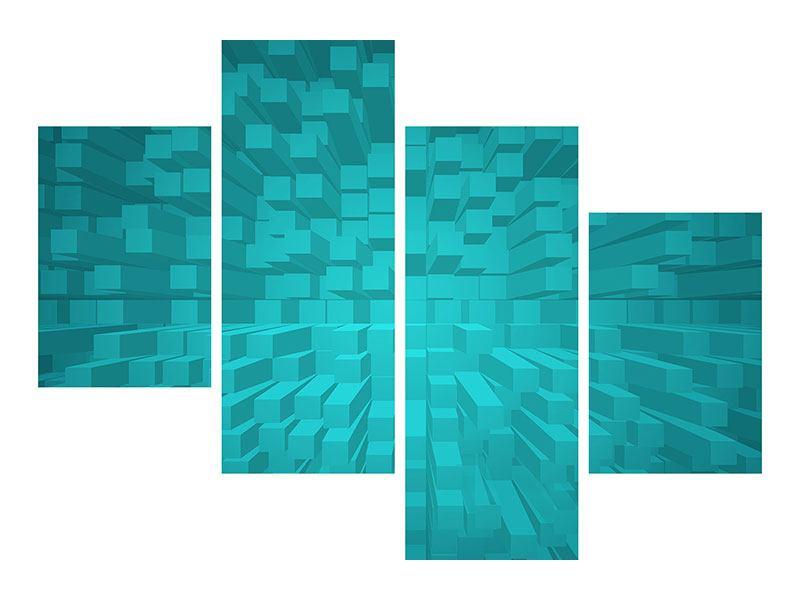 Aluminiumbild 4-teilig modern 3D-Kubusse