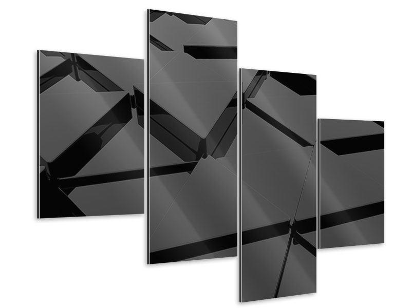 Aluminiumbild 4-teilig modern 3D-Dreiecksflächen