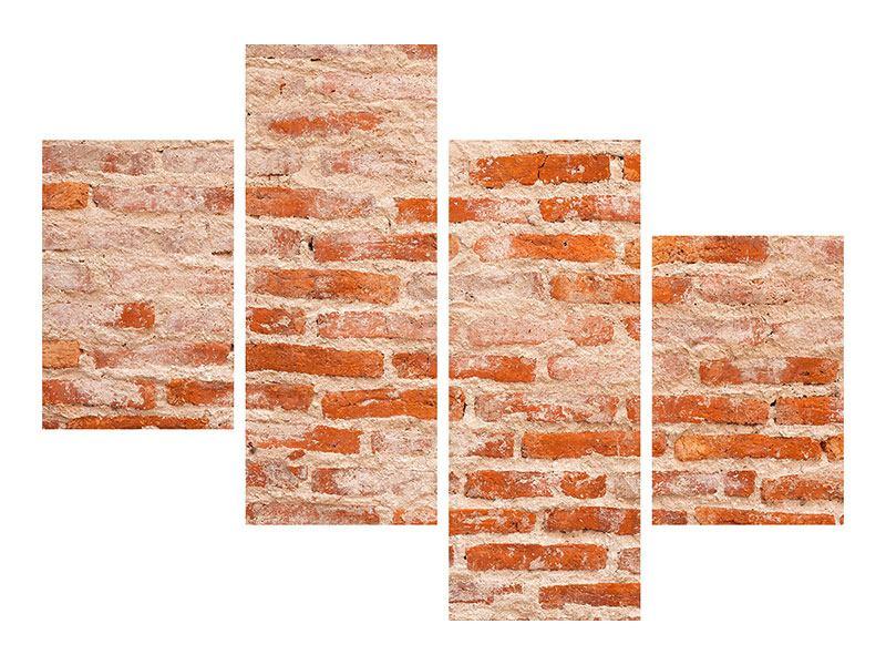 Aluminiumbild 4-teilig modern Mauerwerk