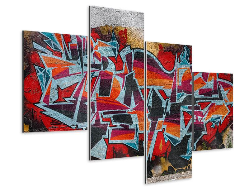 Aluminiumbild 4-teilig modern New York Graffiti
