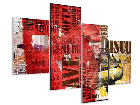 Aluminiumbild 4-teilig modern Musiktext im Grungestil