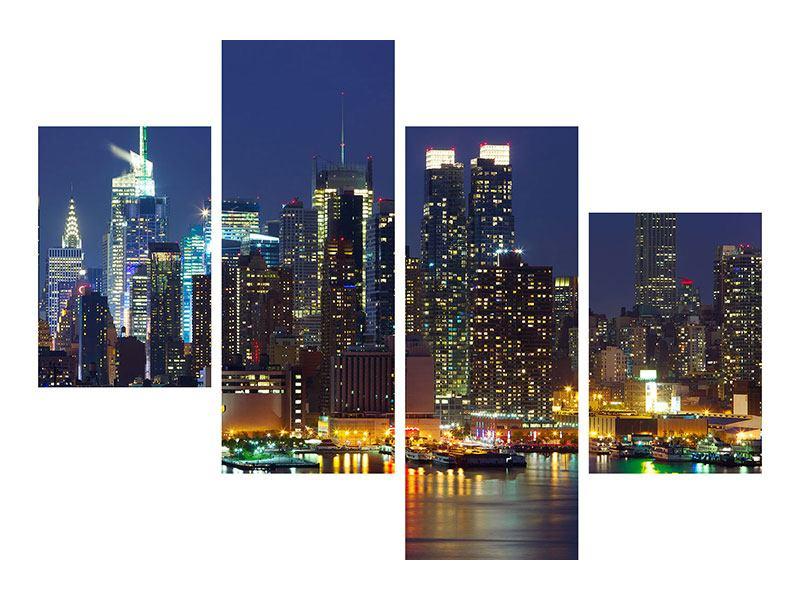 Aluminiumbild 4-teilig modern Skyline New York Midtown bei Nacht