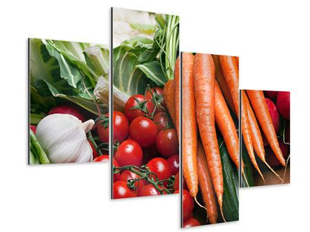 Aluminiumbild 4-teilig modern Gemüse
