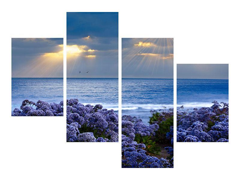 Aluminiumbild 4-teilig modern Der Lavendel und das Meer