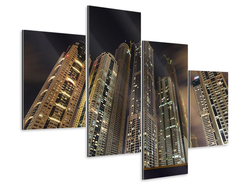 Aluminiumbild 4-teilig modern Wolkenkratzer Dubai Marina