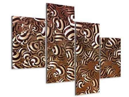 Aluminiumbild 4-teilig modern Schokoladen-Bonbons