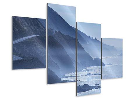 Aluminiumbild 4-teilig modern Bewegung im Wasser