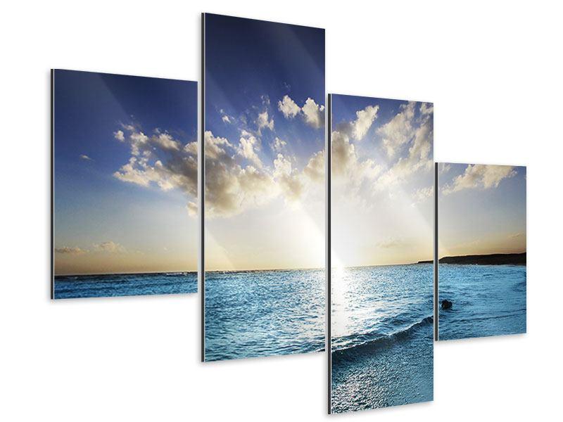 Aluminiumbild 4-teilig modern Das Meer im Sonnenaufgang