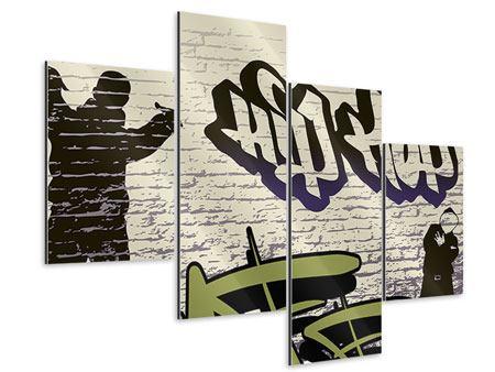 Aluminiumbild 4-teilig modern Graffiti Hip Hop
