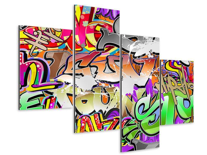 Aluminiumbild 4-teilig modern Writings