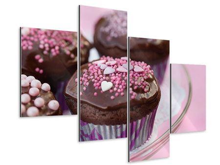 Aluminiumbild 4-teilig modern Muffins