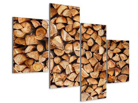 Aluminiumbild 4-teilig modern Gestapeltes Holz