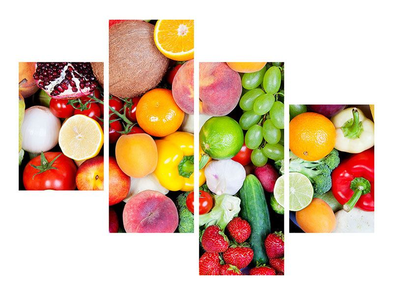 Aluminiumbild 4-teilig modern Frisches Obst