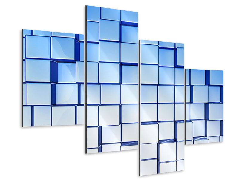 Aluminiumbild 4-teilig modern 3D-Symetrie