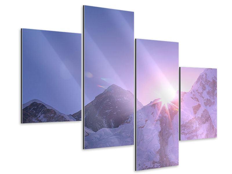Aluminiumbild 4-teilig modern Sonnenaufgang beim Mount Everest