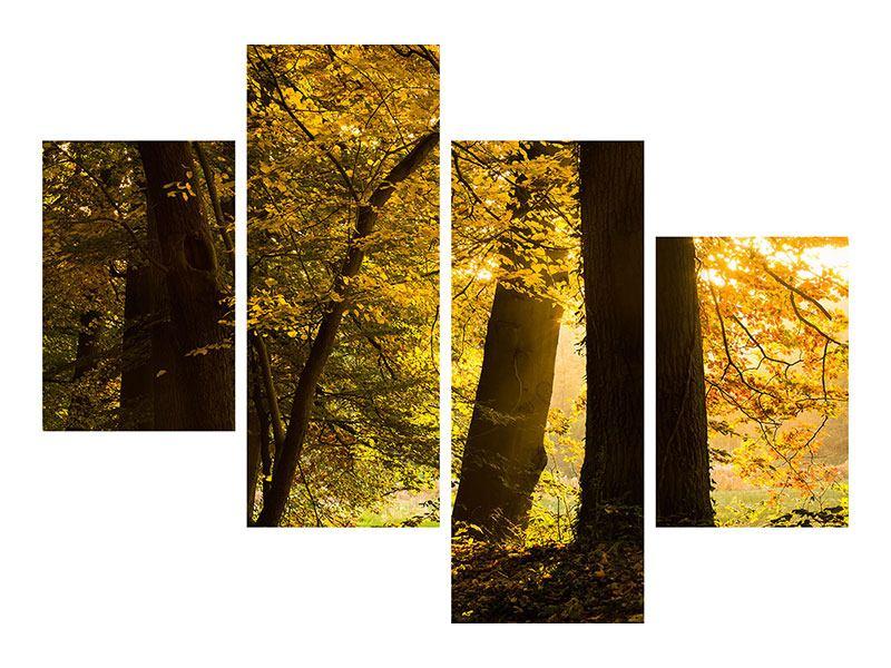 Aluminiumbild 4-teilig modern Herbstlaub