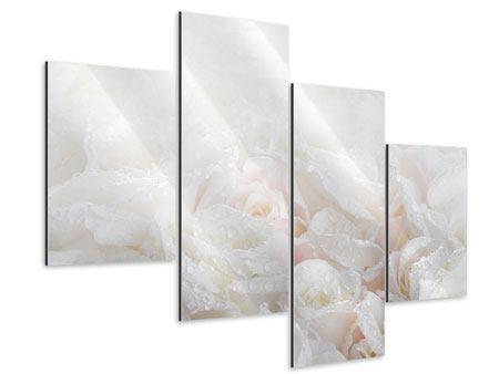 Aluminiumbild 4-teilig modern Weisse Rosen im Morgentau