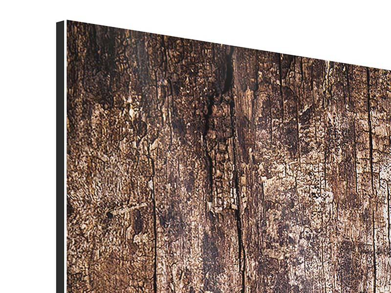 Aluminiumbild 4-teilig modern Retro-Holz