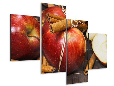 Aluminiumbild 4-teilig modern Äpfel