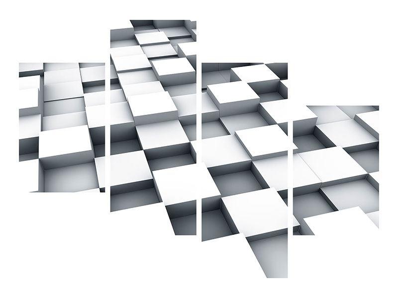 Aluminiumbild 4-teilig modern 3D-Kubus