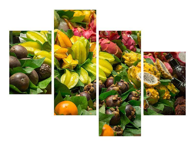 Aluminiumbild 4-teilig modern Früchte
