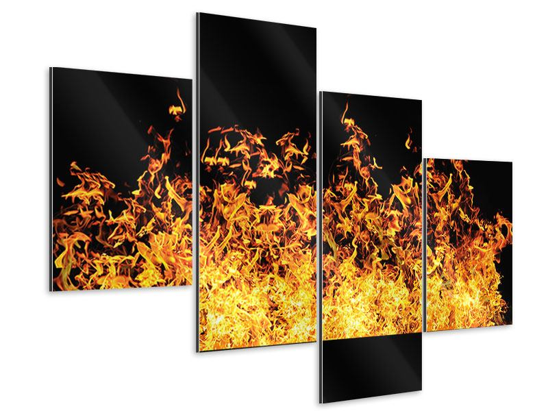 Aluminiumbild 4-teilig modern Moderne Feuerwand