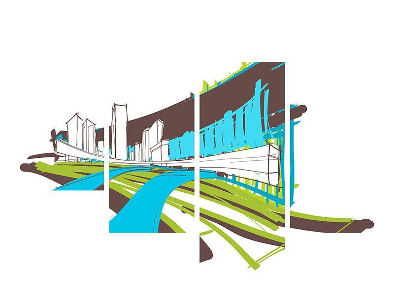 Aluminiumbild 4-teilig modern Graffiti Street-Art