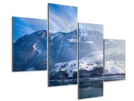 Aluminiumbild 4-teilig modern Winterwunderland
