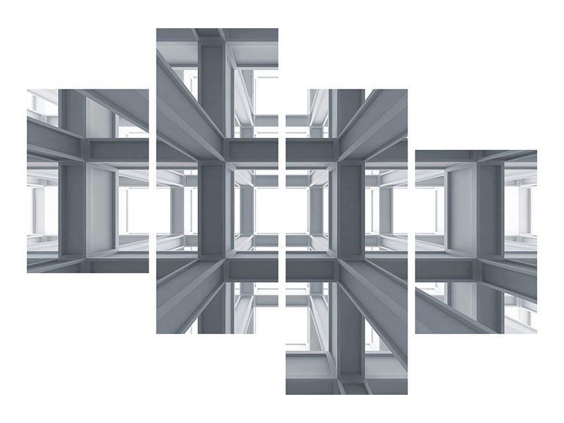 Aluminiumbild 4-teilig modern Räume