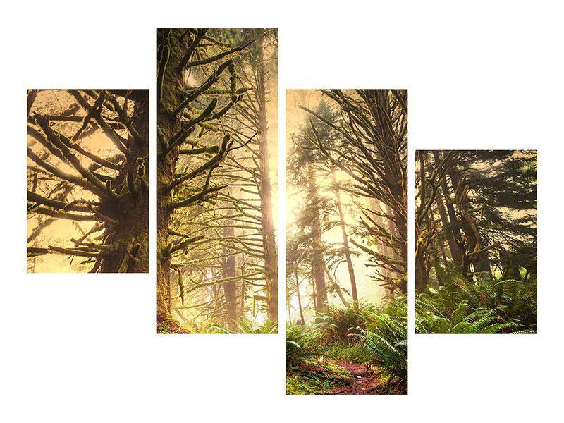 Aluminiumbild 4-teilig modern Sonnenuntergang im Dschungel