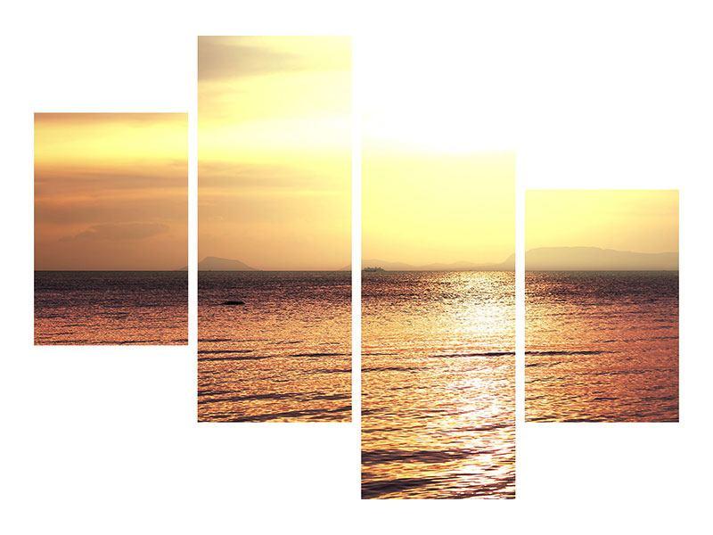 Aluminiumbild 4-teilig modern Sonnenuntergang an der See