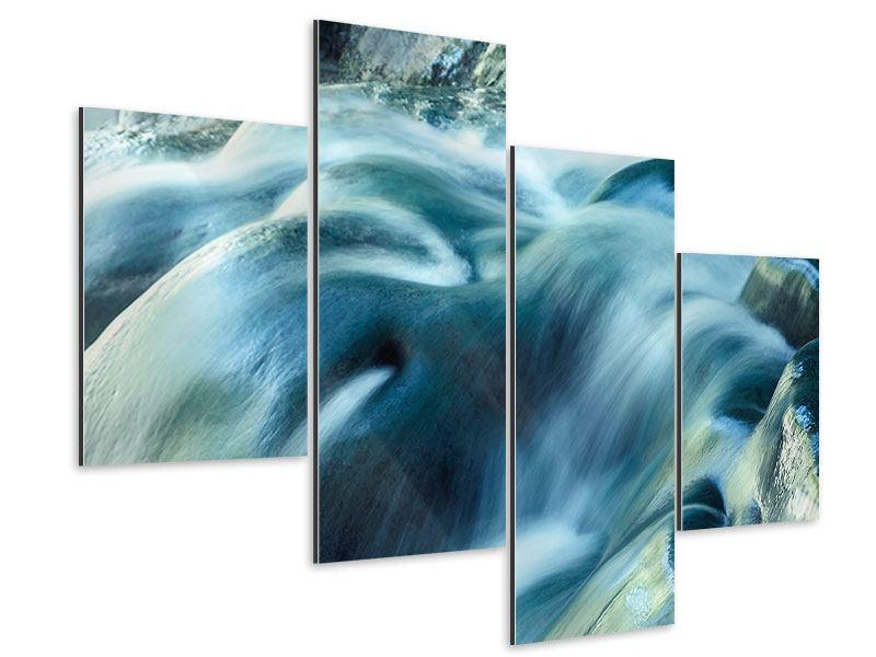 Aluminiumbild 4-teilig modern Das Fliessende Wasser