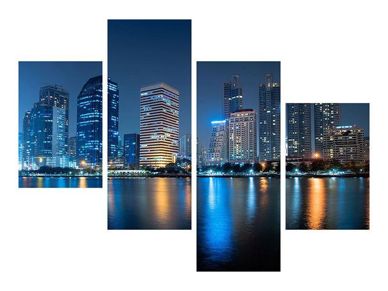Aluminiumbild 4-teilig modern Skyline Bangkok bei Nacht