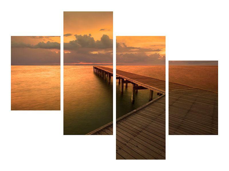 Aluminiumbild 4-teilig modern Der Steg am Meer