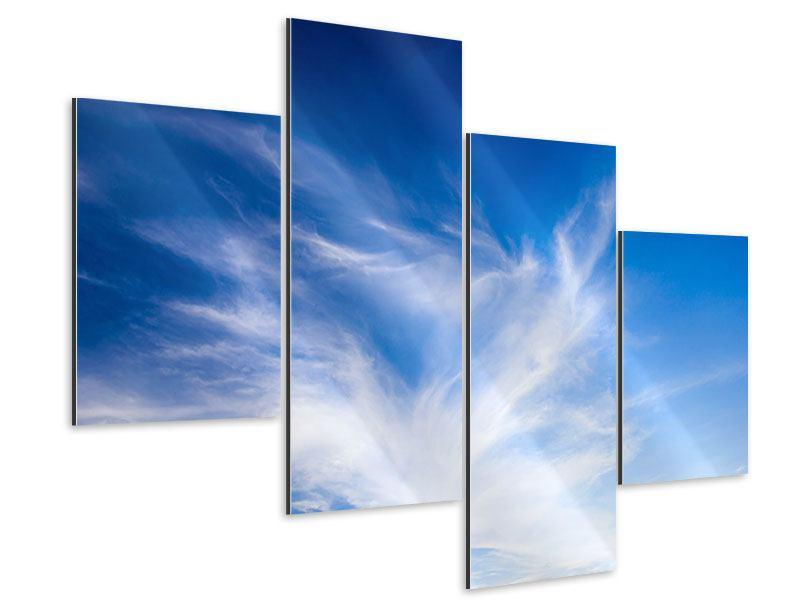 Aluminiumbild 4-teilig modern Schleierwolken