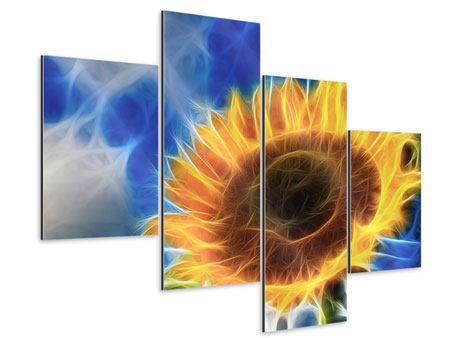 Aluminiumbild 4-teilig modern Der Sonne entgegen