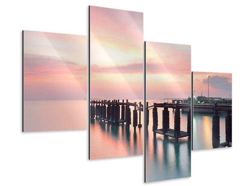 Aluminiumbild 4-teilig modern Der beruhigende Sonnenuntergang