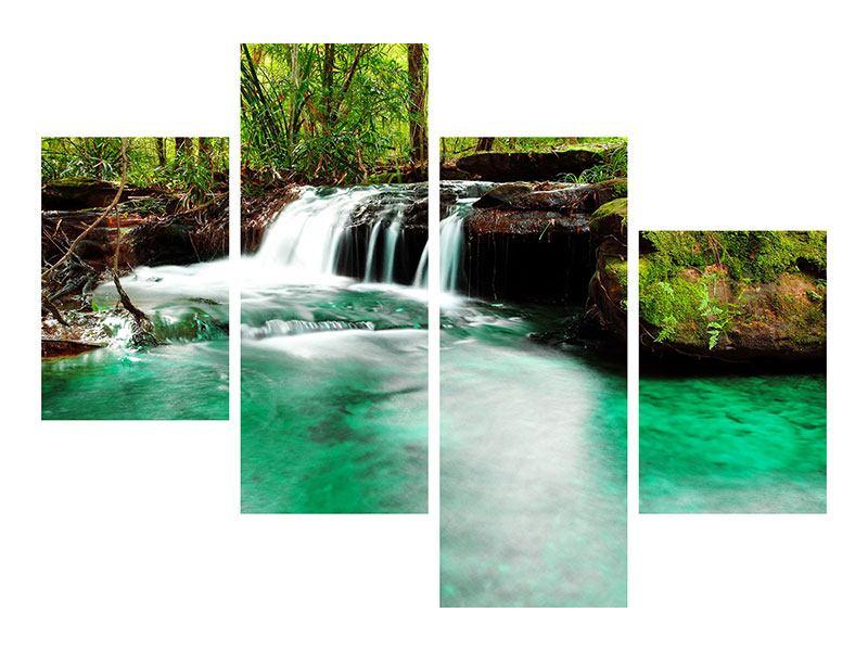 Aluminiumbild 4-teilig modern Der Fluss am Wasserfall