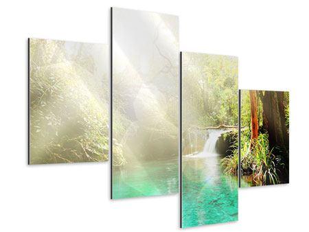 Aluminiumbild 4-teilig modern Die grüne Lagune