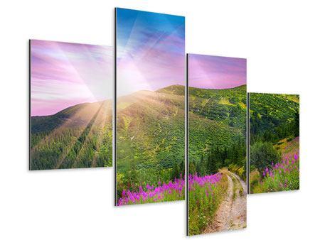 Aluminiumbild 4-teilig modern Eine Sommerlandschaft bei Sonnenaufgang